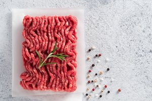 raw minced beef top view copy space