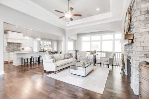 White Living Room and Kitchen