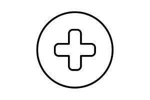 Medical cross line icon black