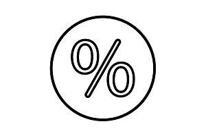 percent sign. vector line icon black
