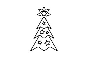 Fir tree vector line icon. black