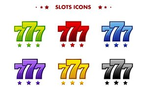 Glossy 777 jackpot symbol, colored app icon. Objects for asset game and GameTwist