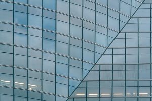 Detail of glass facade in modern office building