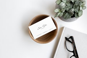 Business Card Photo Mockup Flat Lay