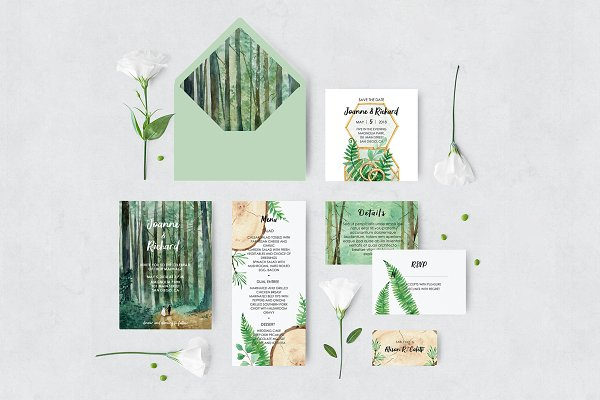 Invitation Templates - Woodland Wedding Set