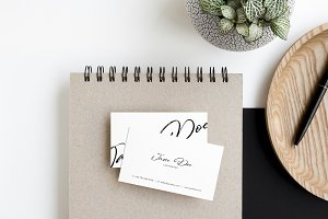 Business Cards Photo Mockup Flat Lay