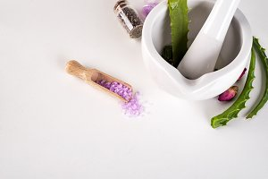 Spa concept with salt and aloe vera in bowl on white background