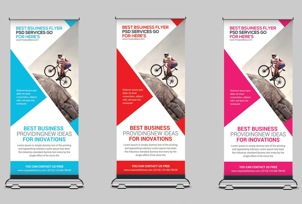 Creative corporate roll up banner flyer templates creative market wajeb Image collections