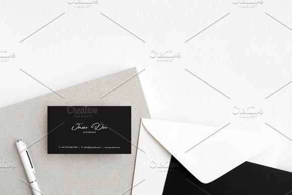 Business Card Photo Mockup Flat Lay