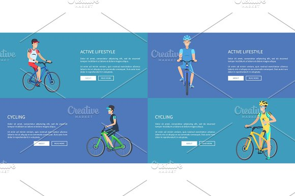 Active Lifestyle And Cycling Colorful Posters