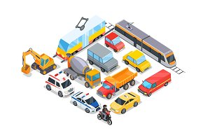 Transport Collection Poster Vector Illustration