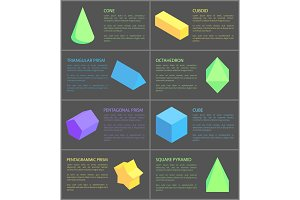 Cone Cuboid and Cube, Eight Geometric Posters