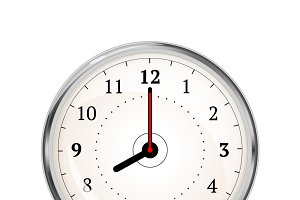 Realistic clock face showing 08-00