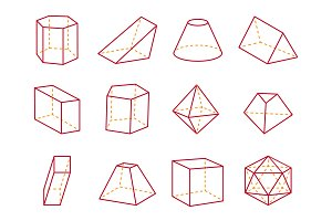Cube and Cone with Flat Top Vector Illustration