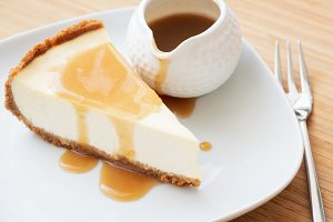 Cheesecake slice with caramel sauce