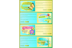 Spring Discount New Offer Set Vector Illustration