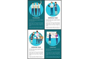 Teamwork and Working Task Vector Illustration