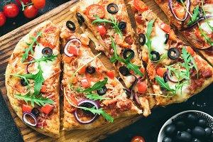 Flatbread pizza cut into slices