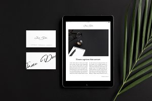 iPad & Business Card Photo Mockup