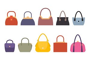 Set of Women Bags Stylish Accessory Females Vector