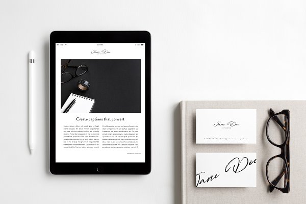 iPad & Business Card Photo Mockup