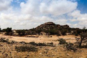 Cave paintings Laas Geel rock exterior, Hargeisa, Somalia