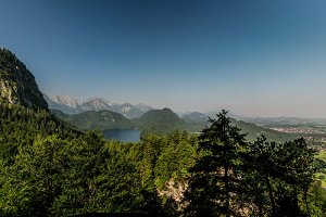 Landscape of Alpsee, view from Marienbrucken Germany