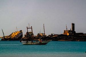 Panorama of Berbera port and beach with boats Somalia