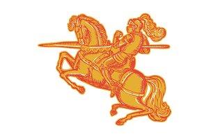 Knight Full Armor Horseback Lance Et