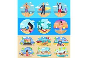 Freelance Summer People Set Vector Illustration