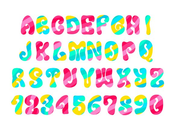 Psychedelic Hippie Font On White