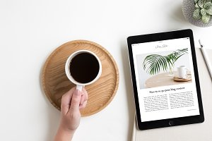 iPad Lifestyle Flat Lay Photo Mockup