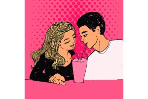 Couple in love, cute woman and man drinking pink color milkshake. Vector Valentine's day pop art style illustration.