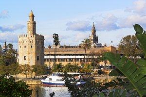 Seville , Golden Tower and Giralda
