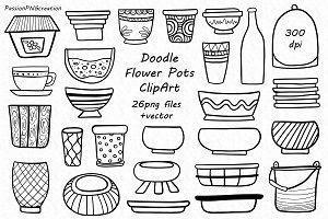 Doodle Flower Pots ClipArt