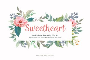 Sweetheart Watercolor Flower Clipart