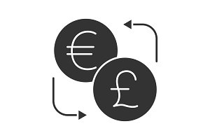 Euro and British pound currency exchange glyph icon