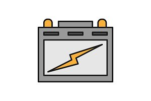 Automotive battery color icon