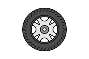 Car rim and tire color icon