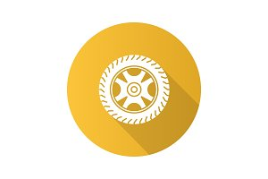 Car rim and tire flat design long shadow glyph icon