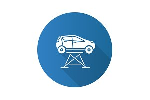 Car lift flat design long shadow glyph icon