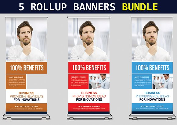 5 Corporate Roll Up Banners Bundle
