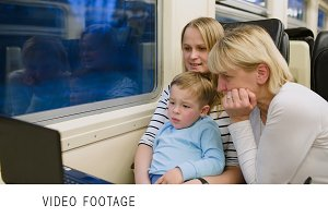 Family with child in the train