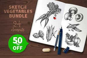 Sketch Vegetables Bundle Sale 50%