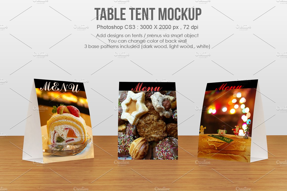 Table Tent Menu Mockup Product Mockups Creative Market