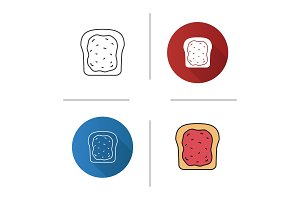 Toast with jam or butter icon