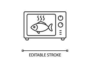 Cooking fish in microwave oven linear icon