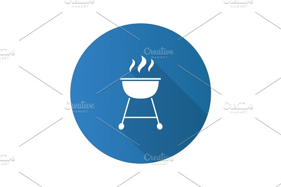 Kettle Barbecue Grill Flat Design Long Shadow Glyph Icon