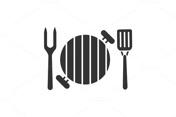 Barbecue Grill With Fork And Spatula Glyph Icon