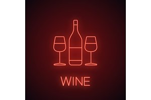 Wine and two glasses neon light icon